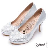 DIANA 漫步雲端瞇眼美人款--夢幻逸品玫瑰花水鑽新娘跟鞋(銀)★特價商品恕不能換貨★