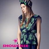 【SHOWCASE】大葉子印花雙荷葉紗袖縮腰上衣(藍)