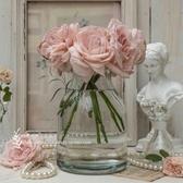 花瓶 北歐INS簡約歐美式田園透明玻璃水培養干鮮花束插大口徑花瓶家居 ATF poly girl