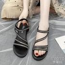 涼鞋女2021新款羅馬鞋休閒女夏季平底外穿水鑽仙百搭時尚防滑 快速出貨
