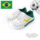 PONY ENJOY 白 綠 洞洞鞋 後跟可踩 水鞋 世足 巴西 男女 82U1SA75OW【SP】
