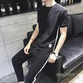 男士短袖t恤亞麻韓版潮流休閒運動夏季套裝夏天薄款男裝夏裝衣服 「時尚彩虹屋」
