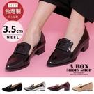[Here Shoes]紳士鞋-MIT台灣製個性學院風尖頭亮皮包鞋低跟樂福鞋紳士鞋─KP712