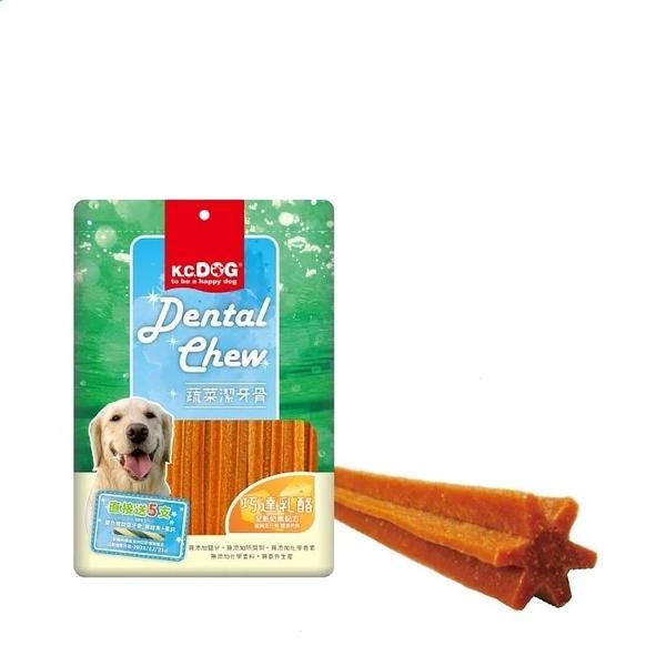 寵物家族-K.C.DOG 蔬菜六角潔牙骨 起司+雞肉 300g G33-3