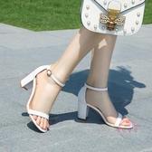 夏季高跟鞋新款正韓百搭學生涼鞋女一字帶扣大尺碼粗跟羅馬中跟 【快速出貨】