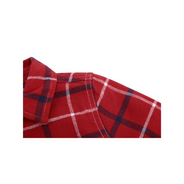 Gap男幼童棉質舒適格紋印花長袖襯衫523174-熱情紅