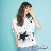Victoria  星星印花貼片寬鬆短袖T-女-白色