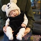 兒童帽子雙球小熊護耳針織帽嬰兒寶寶毛線帽【聚可愛】