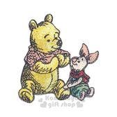 〔小禮堂〕迪士尼 小熊維尼 造型燙布貼《紅黃.小豬》布飾.刺繡燙貼 4562275-79679
