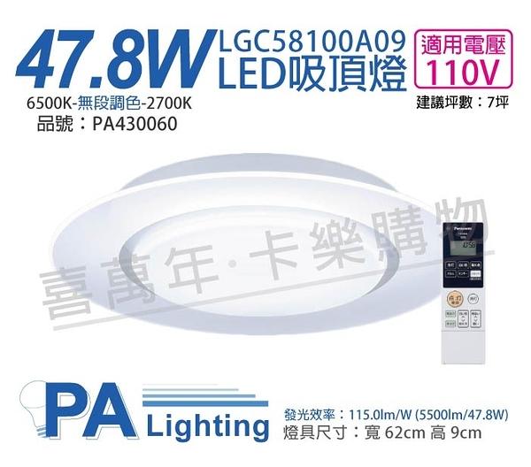 Panasonic國際牌 LGC58100A09 LED 47.8W 110V 單層導光板 調光調色 遙控吸頂燈 _ PA430060