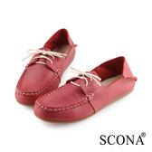 SCONA 蘇格南 全真皮 簡約舒適2way帆船鞋 紅色 7302-3
