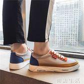 小白鞋新款春季男鞋拼色男士運動休閒韓版潮流小白板鞋百搭帆布潮鞋 初語生活