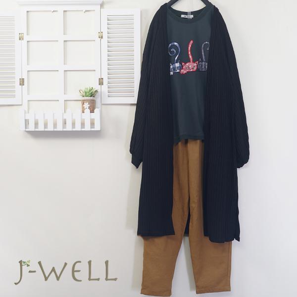J-WELL 拋袖針織外套三隻小貓棉T常褲三件組(組合A469 8J1294黑+8J1420綠+9J1059卡)