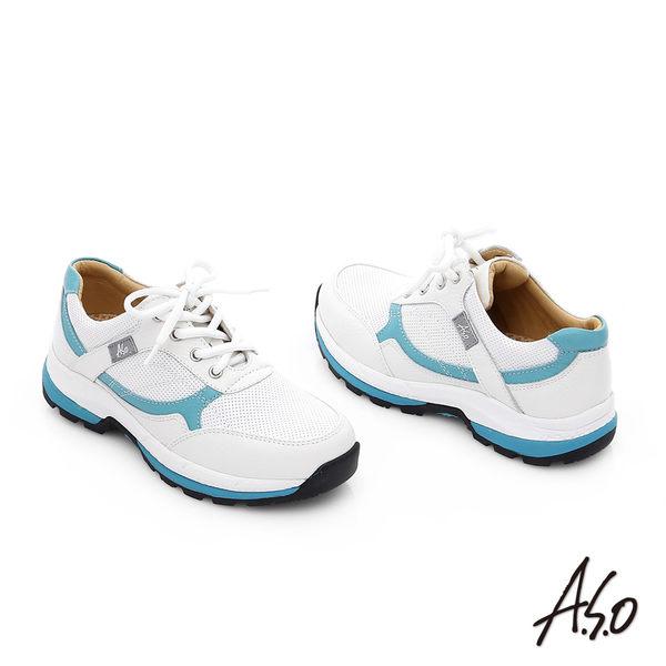 A.S.O 前彈性後避震 柔軟真皮乳膠奈米休閒鞋  白