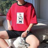 新款夏季男士T恤圓領條紋衣服韓版潮流寬鬆卡通休閒情侶短袖   伊鞋本鋪