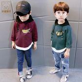 男童衛衣2018春裝新款小童上衣兒童薄款打底衫純棉假兩件長袖T恤 莫妮卡小屋