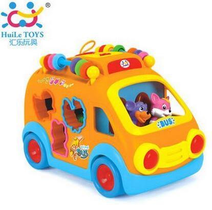 設計師美術精品館匯樂988開心樂園巴士 兒童早教益智電動玩具車帶音樂