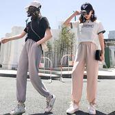 hiphop褲子女直筒哈倫褲九分雪紡寬鬆2018新款休閒大碼夏季闊腿褲禮物限時八九折