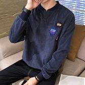 長袖T恤-加絨燈芯絨純色胸章休閒男上衣4色73qd15【巴黎精品】