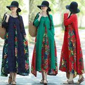 週年慶 秋復古提花拼接棉麻花布寬鬆大擺長袖連身裙洋裝 隨想曲