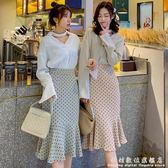 魚尾裙綠色波點半身裙女春夏高腰中長款不規則A字包臀裙 科炫數位