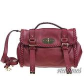 【裕代 Mulberry】酒紅色編織皮革郵差包 MB0C6537