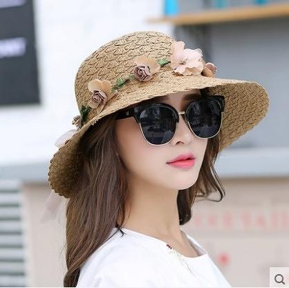 [協貿國際]韓版夏天帽子可折疊遮陽帽草帽花環盆帽卡其色
