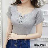 【藍色巴黎】歐美風性感前綁帶針織短袖上衣 T恤《6色》 【28113】