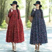 秋民族風棉麻碎花磨毛復古長袖連身裙洋裝
