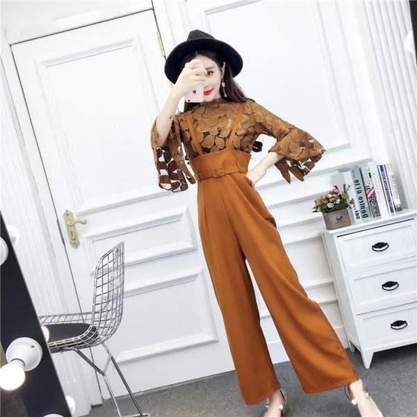 俏皮套裝女兩件套夏季韓版氣質網紗喇叭袖上衣高腰背帶闊腿連體褲