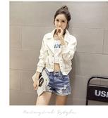 韓版白色牛仔外套女短款春秋裝bf寬鬆顯瘦小夾克潮百搭牛仔衣