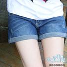 時尚百搭獨特反摺褲擺孕婦短褲【腰圍可調】藍【COH086】孕味十足 孕婦裝