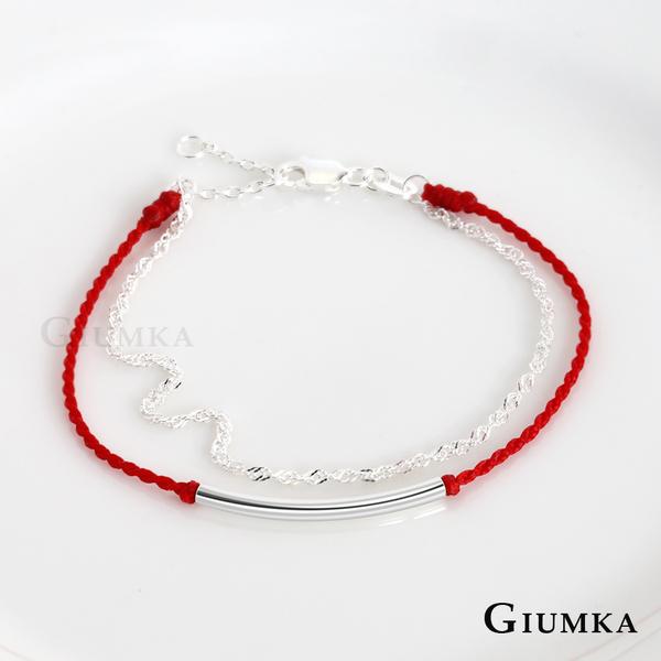 GIUMKA925純銀紅線手鍊 開運紅繩雙鍊手鍊 紅線蠶絲蠟繩 MHS07025