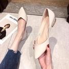 單鞋女2021新款夏季淺口尖頭鞋平底鞋溫柔百搭珍珠跟低跟女鞋春季 快速出貨