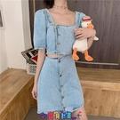牛仔洋裝 短袖洋裝露腰牛仔裙女夏季法式少女復古方領心機設計感小眾泡泡短袖連身裙 寶貝計畫