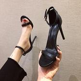 高跟鞋時尚黑色一字扣帶涼鞋網美涼鞋女鞋細跟鞋夏季【慢客生活】
