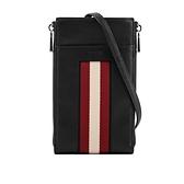 【BALLY】Belet 紅白條紋皮革附掛繩卡夾/手機包(黑色) 6237301 0100
