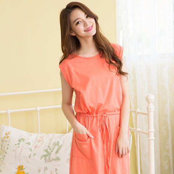 日系簡約居家睡衣洋裝(橘色)