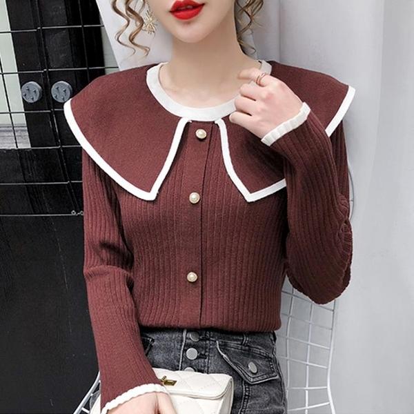 促銷全場九五折 娃娃領上衣針織衫女秋冬新款寬松顯瘦外穿撞色長袖套頭毛衣潮