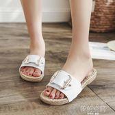 時尚一字拖拖鞋女夏季外出涼拖鞋女士沙灘鞋百搭厚底外穿防滑平底   韓語空間