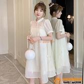 洋裝連身裙孕婦裝夏季雪紡改良旗袍裙子寬松大碼顯瘦挺仙的連身裙潮辣媽【小桃子】
