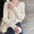毛衣女套頭年秋冬季外穿寬鬆慵懶風V領長袖打底針織衫上衣女 小山好物