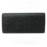 【COACH】中性男款鈔票零錢袋C LOGO牛皮對折長夾(浮雕LOGO黑)