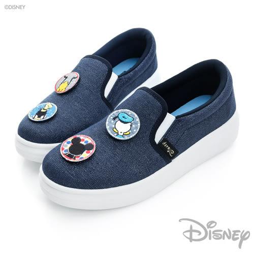 Disney 帥氣背影 小圓貼~ 亮蔥 厚底 休閒鞋-藍