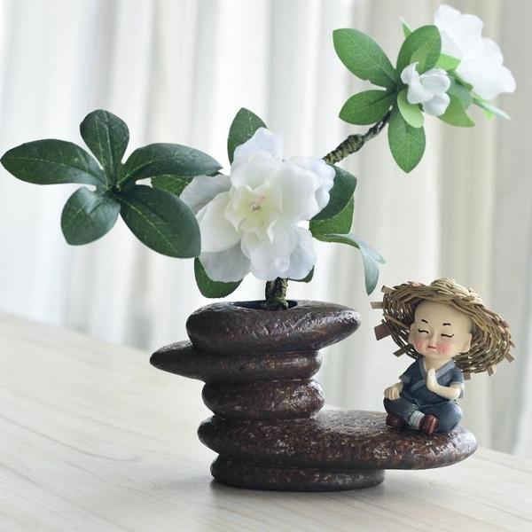 茶寵擺件 創意仿真石頭陶瓷水培花插小和尚茶寵擺件中式客廳桌面家居裝飾
