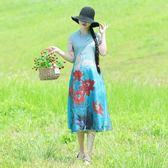 洋裝 連身裙 2019年夏季短袖復古定位花印花盤扣假兩件改良旗袍裙顯瘦連衣裙女