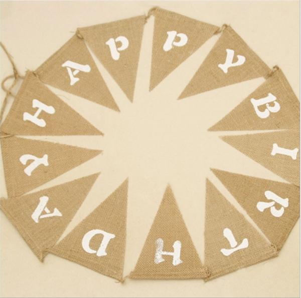 生日Happy Birthday 派對彩旗掛旗三角旗拍照攝影復古麻佈道具拉─預購CH3329