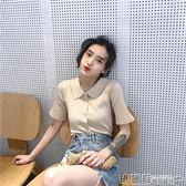 polo衫 夏裝韓版chic復古簡約百搭polo領純色體恤 修身針織短袖t恤女 瑪麗蘇