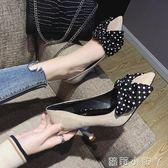 高跟鞋鞋子女新款女鞋尖頭細跟百搭黑色甜美蝴蝶結淺口單鞋女 蘿莉小腳丫