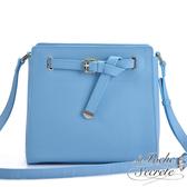 La Poche Secrete 韓系時尚真皮扭結定型側背斜背包-天空藍 OR-5008
